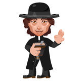 Preacher in Wild West, cartoon vector character Stock Image