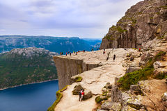 Preachers Pulpit Rock in fjord Lysefjord - Norway Stock Photography