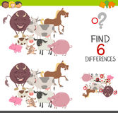 Preachool finding differences game. Cartoon Illustration of Finding the Differences Educational Game for Children with Farm Animals Characters Stock Images
