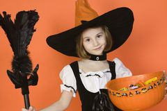 Preadolescent Girl In Witch Costume Royalty Free Stock Photos