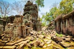 Preah可汗寺庙废墟在古老吴哥窟,柬埔寨 免版税库存照片