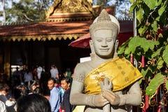 Preah Ang Chek Preah Ang Chorm, Siem Reap, Cambodia - 01.02.2018; guardian figure at the shrine of Preah Ang Chek Preah Ang Chorm royalty free stock photo