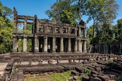Preah Khan świątynia w powikłanym Angkor Wat w Siem Przeprowadza żniwa, Kambodża obrazy stock