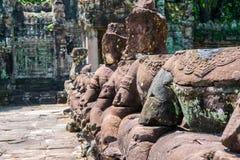 Preah Khan Angkor Stone Carvings Gopura Stock Afbeeldingen