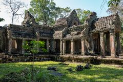 Preah Khan tempel i komplexa Angkor Wat i Siem Reap, Cambodja royaltyfri fotografi