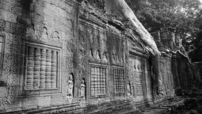 Preah Khan Temple. Black and white photo of Preah Khan Temple at Angkor Archeological Park in Cambodia Royalty Free Stock Photo