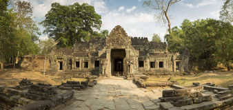 Preah Khan temple with trees, UNESCO Heritage site in Cambodia. Royalty Free Stock Photos