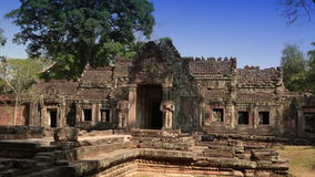 Preah Khan(it is translated as A sacred sword). Trees and ruins of the temple, Siem Reap, Cambodia.  stock video footage