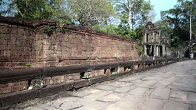 Preah Khan it is translated as A sacred sword. Trees and ruins of the temple, Siem Reap, Cambodia stock video footage