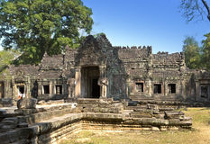 Preah Khan(it is translated as A sacred sword). Trees and ruins of the temple, Siem Reap, Cambodia.  Royalty Free Stock Images