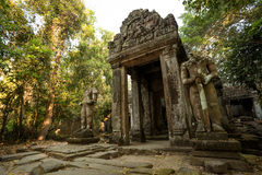 Preah Khan Warriors. And gate Royalty Free Stock Image