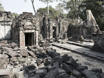 Preah Khanit is translated as A sacred sword. Trees and ruins of the temple, Siem Reap, Cambodia. 