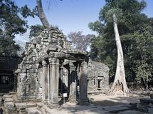 Preah Khanit is translated as `A sacred sword`. Trees and ruins of the temple, Siem Reap, Cambodia.  Royalty Free Stock Image