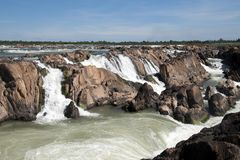 Preah Nimith waterfall and rapids on the Mekong river on the in dry season. Preah Rumkel near the Lao border, Cambodia Royalty Free Stock Photography