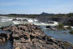 Preah Nimith Rapids above waterfall on the Mekong river. Preah Rumkel near the Lao border, Cambodia Stock Photos