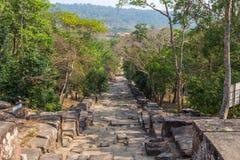 Preah Vihear寺庙台阶 免版税库存图片