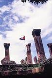 Preah Vihear寺庙,由幻灯片影片的射击风景风景在柬埔寨泰国寺庙争执期间的在2000年9月 免版税库存图片