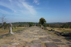 Second pillared causeway of Preah Vihear Temple, Cambodia. Preah Vihear,Cambodia-January 10, 2019: Second pillared causeway of Preah Vihear Temple, Cambodia stock photography