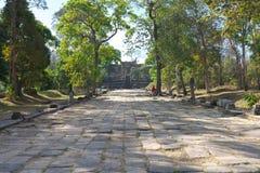Second pillared causeway and Third Gopura of Preah Vihear Temple, Cambodia. Preah Vihear,Cambodia-January 10, 2019: Second pillared causeway and Third Gopura of royalty free stock images