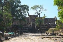 Second pillared causeway and Third Gopura of Preah Vihear Temple, Cambodia. Preah Vihear,Cambodia-January 10, 2019: Second pillared causeway and Third Gopura of royalty free stock photos