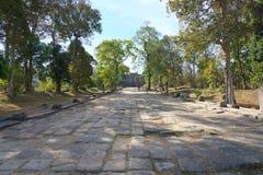 Second pillared causeway and Third Gopura of Preah Vihear Temple, Cambodia. Preah Vihear,Cambodia-January 10, 2019: Second pillared causeway and Third Gopura of stock photo