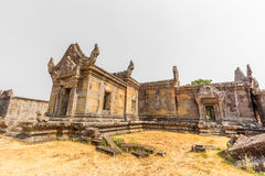 Preah vihear temple golden grass yard Royalty Free Stock Photography