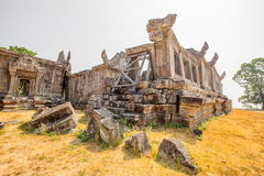 Preah vihear temple grass yard Royalty Free Stock Image