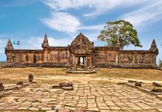 Preah Vihear Temple is located in a pleasant environment with an attractive in Cambodia. Preah Vihear commands spectacular views from its position atop a 525 stock photo