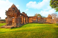Preah Vihear Temple is located in a pleasant environment with an attractive countryside slightly east of the mid section of the Do royalty free stock photo