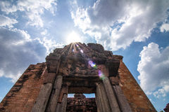 Brick wall with sun. Window vihear buddhist tepmle siemreap religious temple dragon cambodia naga religion stone preah asian ruin cloud grass southeast side Royalty Free Stock Photos