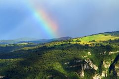 PreAlpi Venete landscape with a rainbow Royalty Free Stock Photography