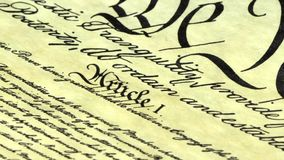 Preamble to the Constitution the United States of America. Constitution of United States Historical Document - We The People Bill of Rights stock footage