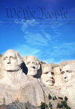 Preamble to the U.S. Constitution behind Mount Rushmore Stock Image