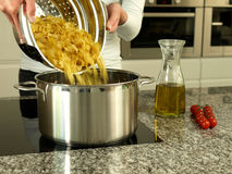 Preapring pasta Stock Photography