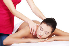 Preaty young woman relaxing heaving massage therapy Stock Photos