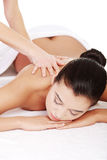 Preaty young woman relaxing heaving massage therapy Stock Photography