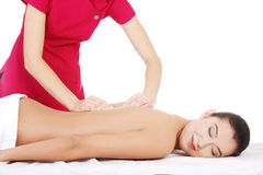 Preaty young woman relaxing heaving massage therapy Stock Image