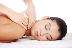 Preaty young woman relaxing in spa saloon Royalty Free Stock Photography