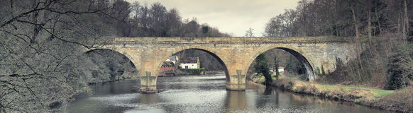 Prebends Bridge, Durham. View looking north towards Prebends Bridge, a stone structure that spans the River Wear in Durham Royalty Free Stock Photos