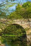 Prebendy Przerzucają most, jeden trzy łuku mostu krzyżuje Rzeczną odzież w Durham, Anglia obraz stock
