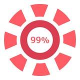 Precargador del web icono del 99 por ciento, estilo plano Imagen de archivo libre de regalías