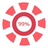 Precargador del web icono del 99 por ciento, estilo plano ilustración del vector