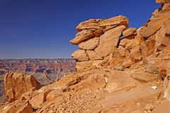 Precarious Rock formation on a Canyon Trail Stock Photo
