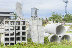Precast concrete for drains. Various types of precast concrete for wells and drains in storage Royalty Free Stock Photography