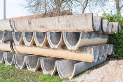 Precast concrete elements for irrigation channels to agriculture Stock Image