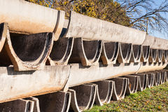Precast concrete elements for irrigation channels to agriculture Stock Photo