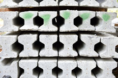 Precast concrete I-beam. Stack of precast concrete I-beam Stock Image