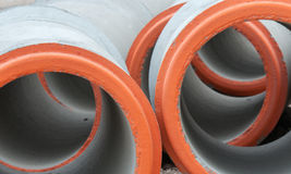 Precast concrete jointed pipes Royalty Free Stock Photography