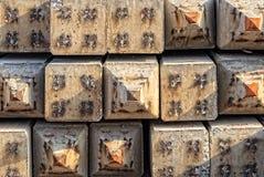 Precast Concrete piles with Steel Tip Stock Photo
