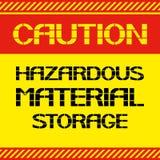 Precaución Almacenamiento material peligroso Imagenes de archivo
